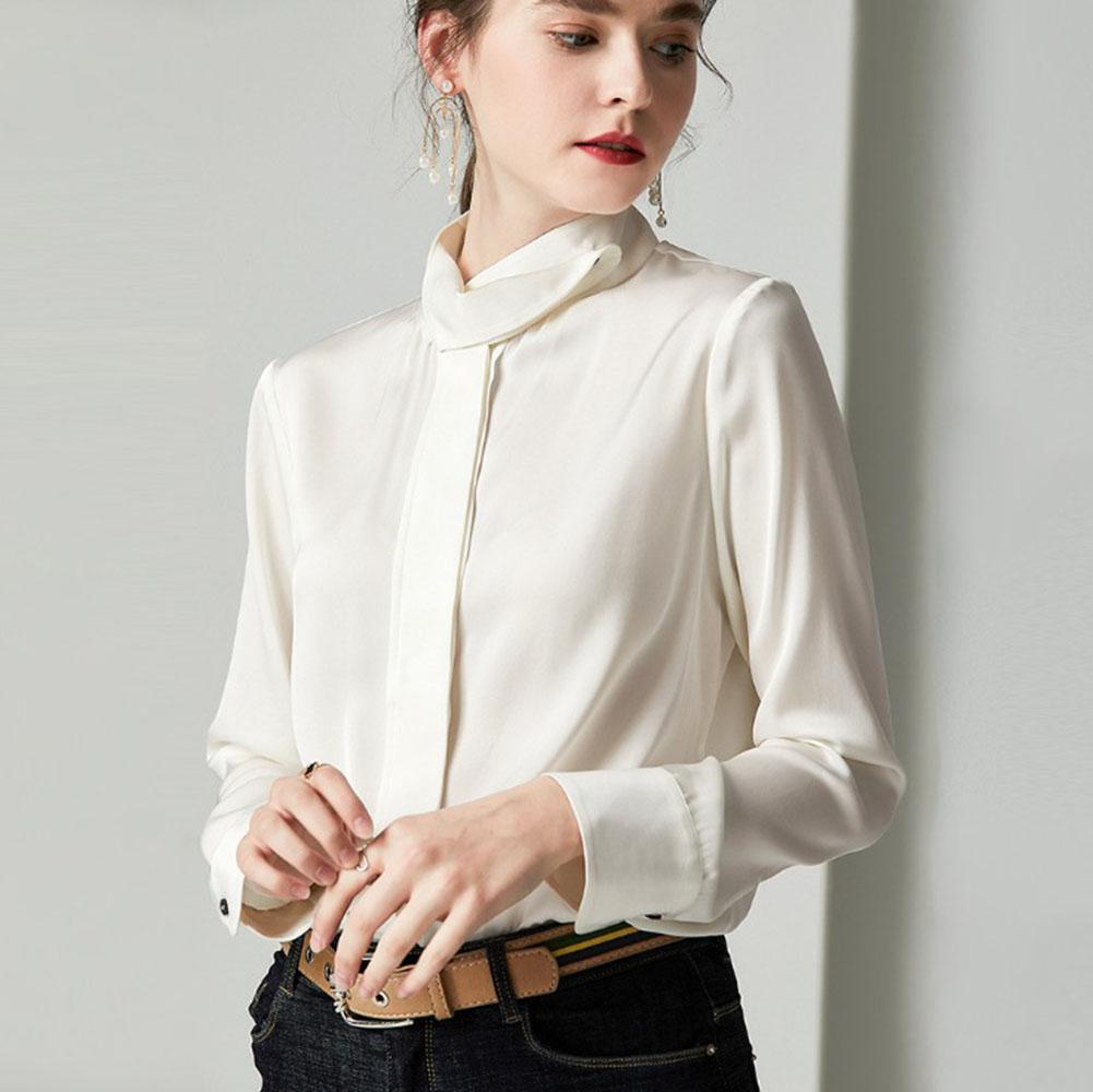 重厚シルク 100% 絹 19匁 シルク シャツ ブラウス スタンドカラー エレガント 長袖 秋冬 レディース ホワイト