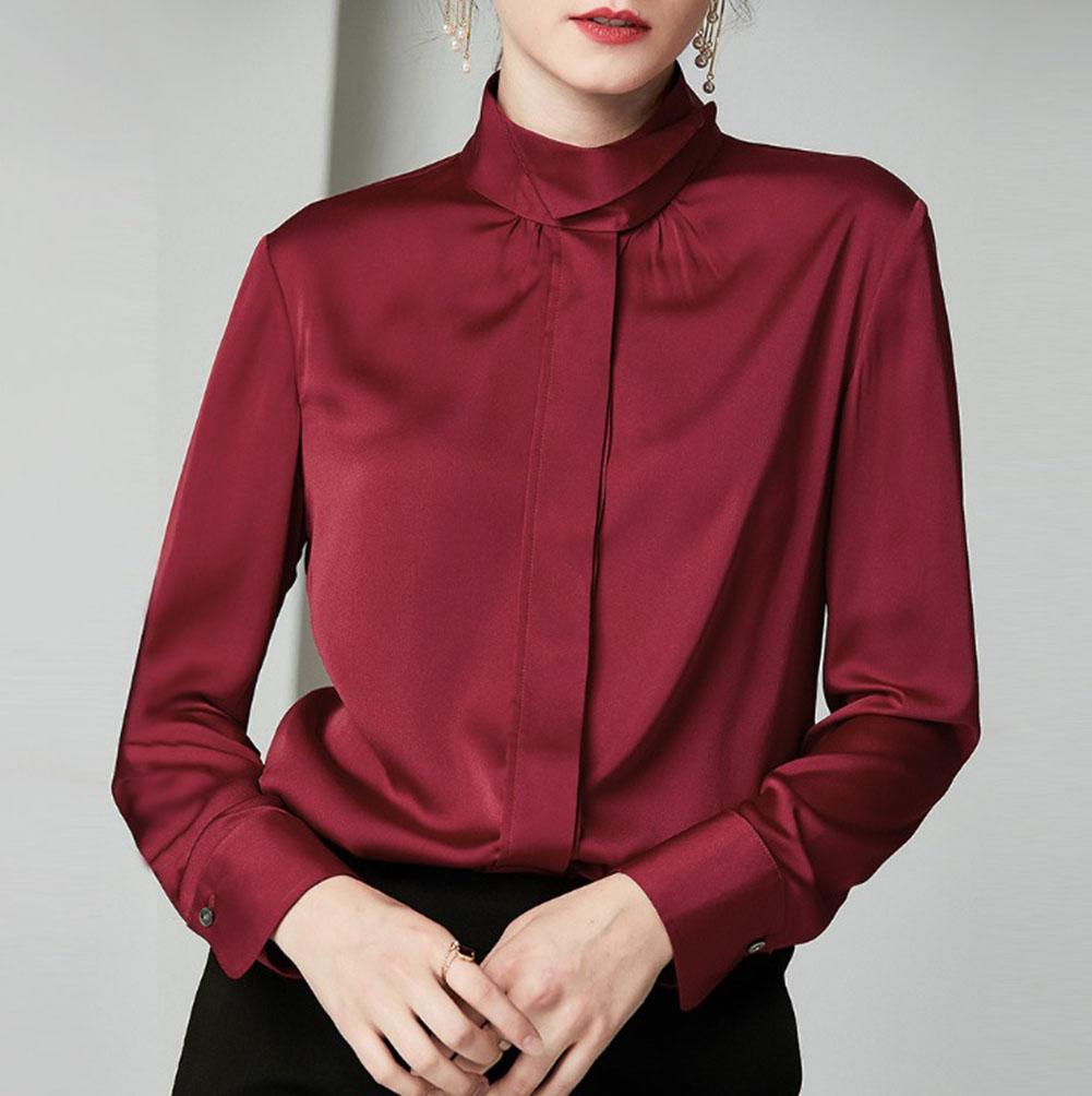 重厚シルク 100% 絹 19匁 シルク シャツ ブラウス スタンドカラー エレガント 長袖 秋冬 レディース ナツメ