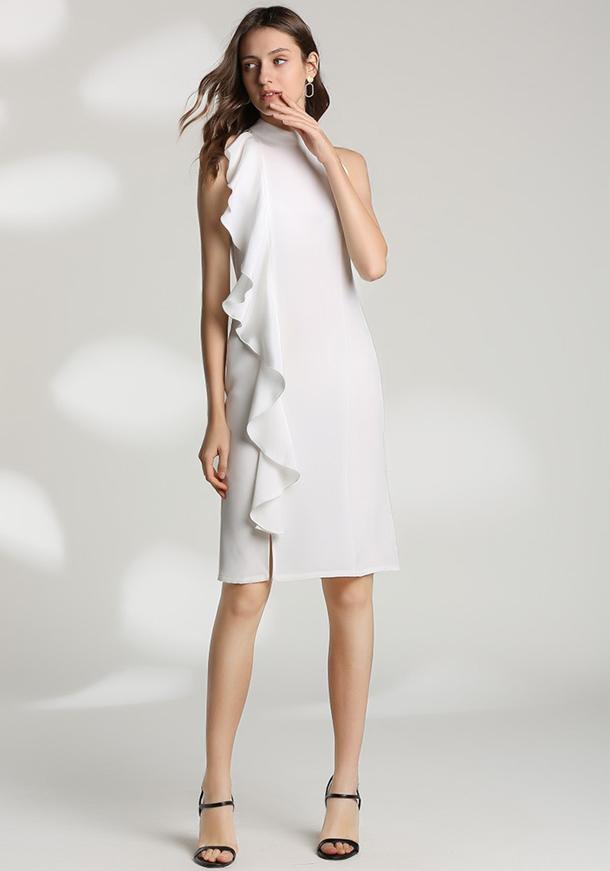 2019年新作 エレガント 重厚シルク ノースリーブ ホワイト ワンピース ドレス