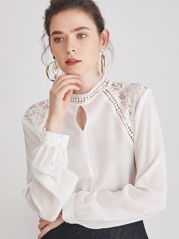 シルク100% 絹 ブラウス シャツ 長袖 透し彫り ヴィンティージ レース ダブルクレープ レトロ エレガント 知的 オフィス 白 ホワイト レディース
