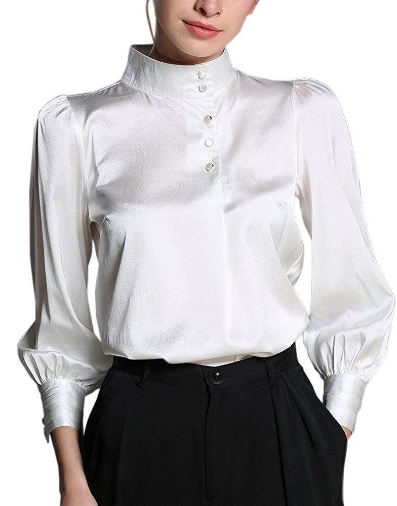 高級シルク 19匁 弾性シルク シルクシャツ ブラウス ビショップスリーブ ランタンスリーブ シンプル 優雅 エレガント 長袖 ホワイト シャンパン レディース パールホワイト