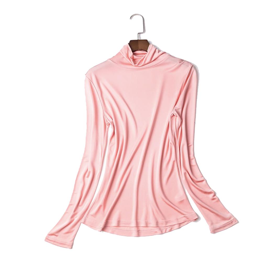 (MAYUDAMAシルク)ピュアシルク100% シルク タートルネック ハイネック シャツ 長袖 Tシャツ シンプル エレガント レディース 滑らか サラサラ 保温 保湿 通気性 選べるサイズ・カラー