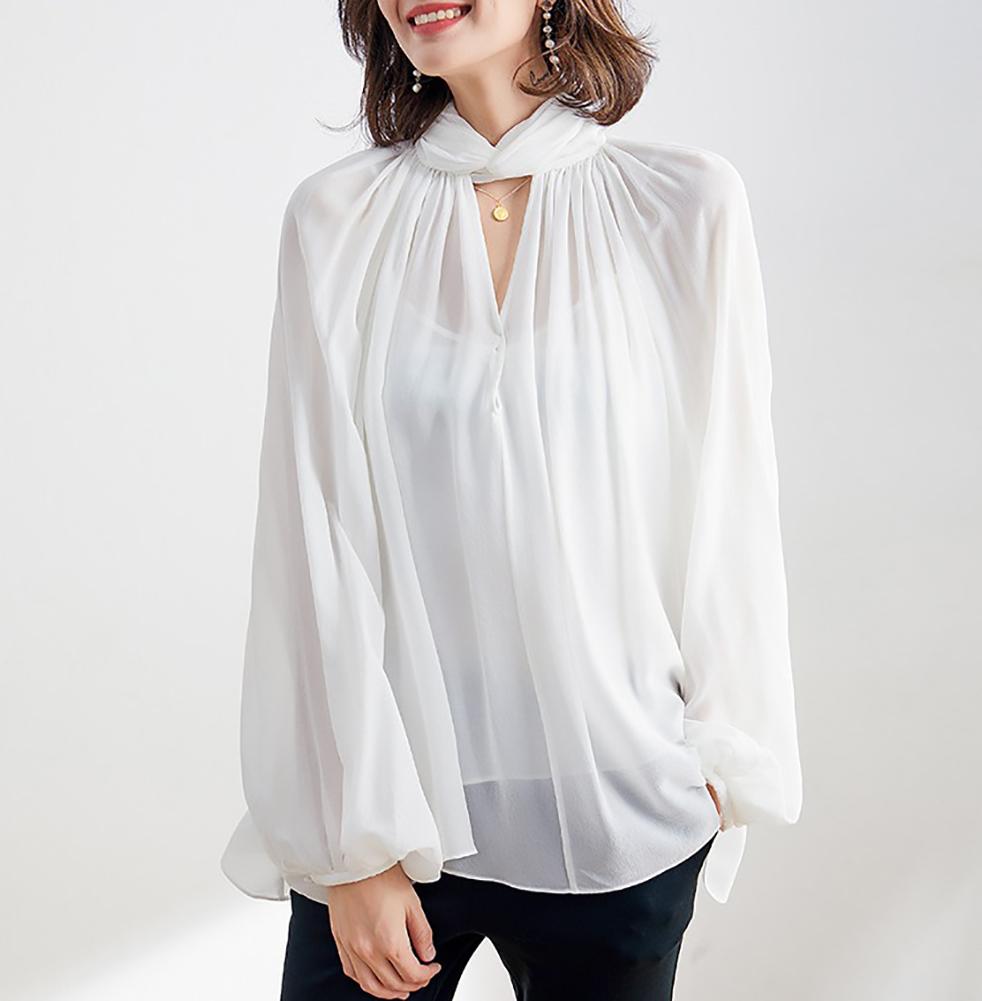 (MAYUDAMAシルク)ピュアシルク100% 絹 16匁 ダブルクレープ エレガント フレンチヨーロピアンデザイン ブラウス シャツ トップス スタンドカラー ランタンスリーブ 長袖 白 黒 レディース…
